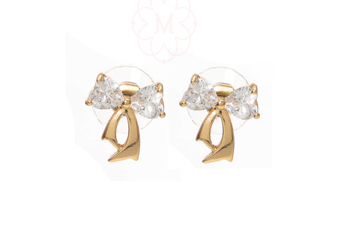 Rose Gold Plated Bow design CZ studded Stud Earring