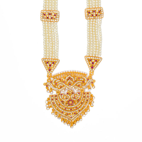 Traditional Gold Plated American Diamond Work Long set with Moti Mala Chain