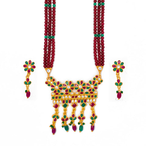 Ethnic Gold Plated Multy color Kundan Work Long set with Moti Mala Chain