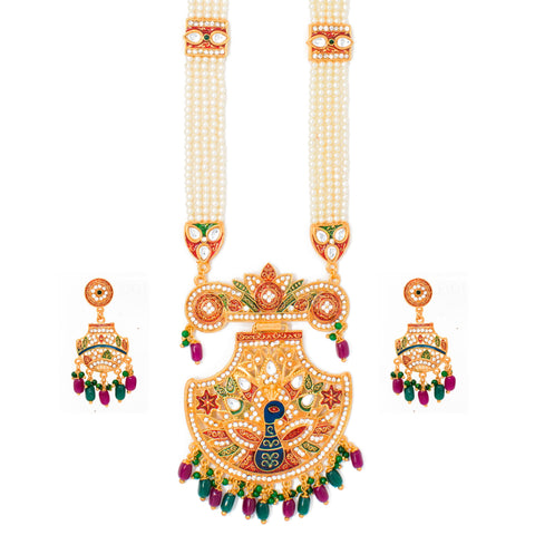 Attractive Gold Plated Meenakari and AD Work Long set with Moti Mala Chain