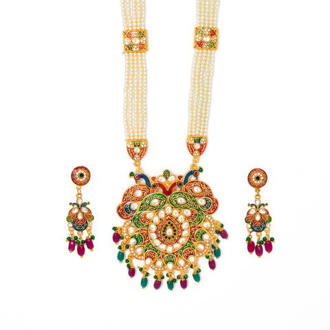 Eye Catchy Gold Plated Meenakari and Kundan Work Long set with Moti Mala Chain