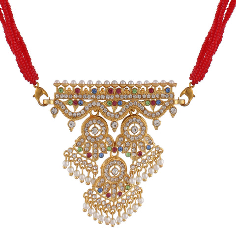 Indian Jewellery from Meira Jewellery:Rajasthani Jewellery,Rajasthani Rajputi Golden Aad American Diamond pearl multi strand for Women