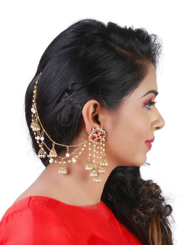 Fancy Bahubali Antique Long Chain Jhumki Earrings
