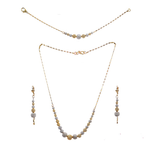 Indian Jewellery from Meira Jewellery:Jewellery Set,Dual Tone Gold-Silver Plated Combo Jewellery Set