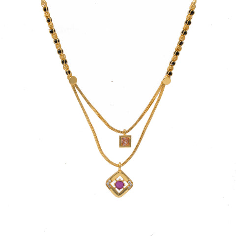 Eye catchy two step Mangalsutra with Pink Pendants