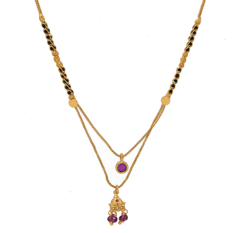 Stylish Gold Plated pink color Mangalsutra