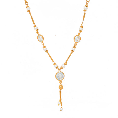 Trendy Gold Plated Chain Studded With CZ Stones