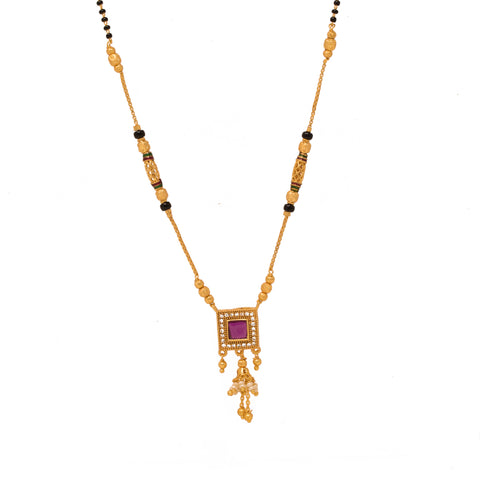 Eye-catchy Gold Plated Square Shape Pendant Mangalsutra