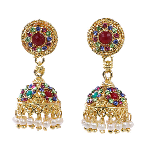 Indian Jewellery from Meira Jewellery:Earrings,Trendy Golden Pearl Multy Stone Jhumki Style Earring