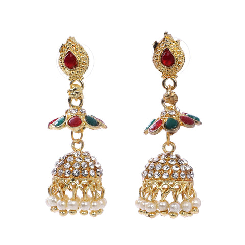 Indian Jewellery from Meira Jewellery:Earrings,Trendy Oxodised Pearl Full Stone design Jhumki