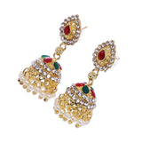 Indian Jewellery from Meira Jewellery:Earrings,Trendy Golden Stone Red Green Chips  design Jhumki