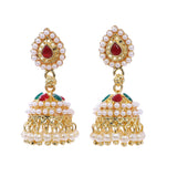 Indian Jewellery from Meira Jewellery:Earrings,Trendy Oxodised Pearl Red Green Chips design Jhumki