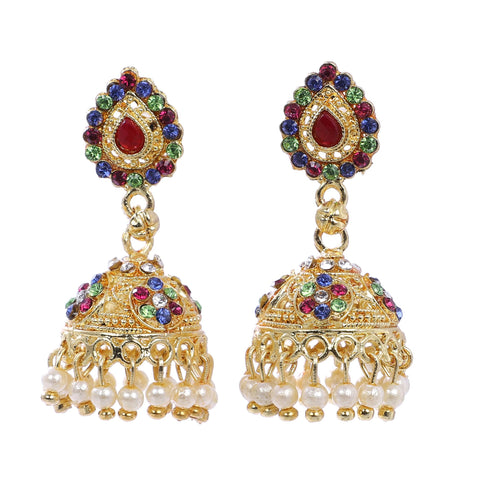 Indian Jewellery from Meira Jewellery:Earrings,Trendy Golden Pearl Tilak & Stone design Jhumki