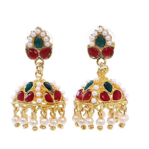 Indian Jewellery from Meira Jewellery:Earrings,Trendy Golden Pearl Leaf design Jhumki Style Earring