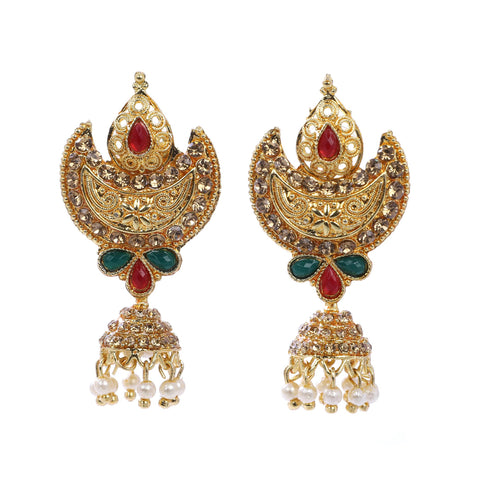 Indian Jewellery from Meira Jewellery:Earrings,Trendy Golden Pearl Moon Design LCD Stone Jhumki Style Earring