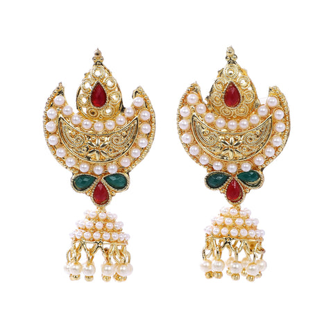 Indian Jewellery from Meira Jewellery:Earrings,Trendy Golden Pearl Moon Design Pearl Jhumki Style Earring
