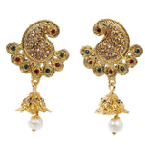 Indian Jewellery from Meira Jewellery:Earrings,Trendy Golden Pearl Peacock Design Stone Jhumki Style Earring