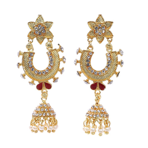 Indian Jewellery from Meira Jewellery:Earrings,Trendy Golden Pearl Floral designJhumki Style Earring