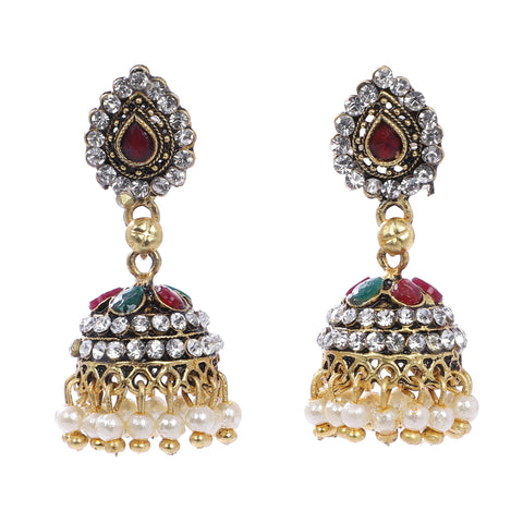 Indian Jewellery from Meira Jewellery:Earrings,Trendy Oxodised Pearl Tilak & Chips design Jhumki