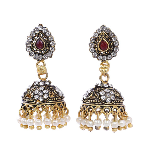 Indian Jewellery from Meira Jewellery:Earrings,Trendy Oxodised Pearl Tilak & Stone design Jhumki
