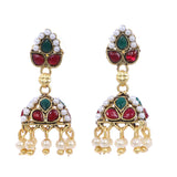 Indian Jewellery from Meira Jewellery:Earrings,Trendy Oxodised Pearl Leaf design Jhumki Style Earring
