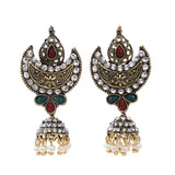Indian Jewellery from Meira Jewellery:Earrings,Trendy Oxodised Pearl Moon Design Jhumki Style Earring