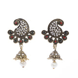 Indian Jewellery from Meira Jewellery:Earrings,Trendy Oxodised Pearl Peacock Design Jhumki Style Earring