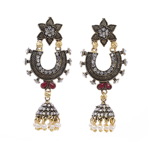 Indian Jewellery from Meira Jewellery:Earrings,Trendy Oxodised Pearl Floral designJhumki Style Earring