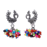 Indian Jewellery from Meira Jewellery:Earrings,Fancy Silver Oxodized Earring Peacock Multi Color Pearl (Small Jhumar)