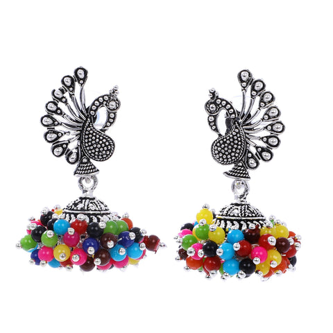 Indian Jewellery from Meira Jewellery:Earrings,Fancy Silver Oxodized Earring Peacock Multi Color Pearl (Big Jhumar)