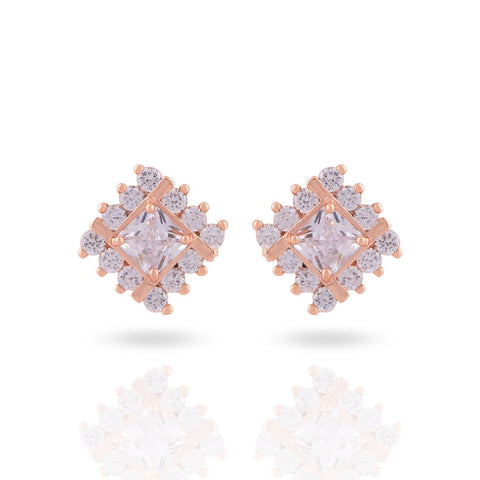 Meira Jewellery CZ & AD Studded Delicate Square Studs for Women & Girls