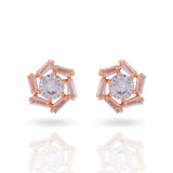 Meira Jewellery Glass Stone Rose Design Studs for Women & Girls