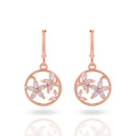 Meira Jewellery CZ Studded Floral Hoop Earring for Women & Girls