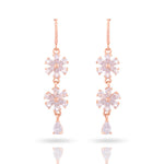 Meira Jewellery CZ Studded Floral Design Earring with Drop for Women & Girls