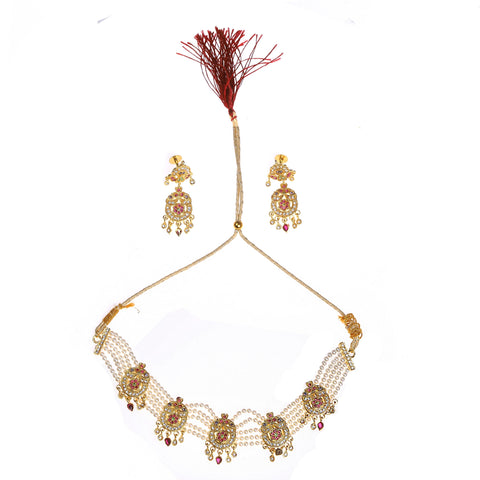 Indian Jewellery from Meira Jewellery:Jewellery Set,MEIRA JEWELLERY PEARL CHOKER SET RAJASTHANI STYLE WITH EARRING