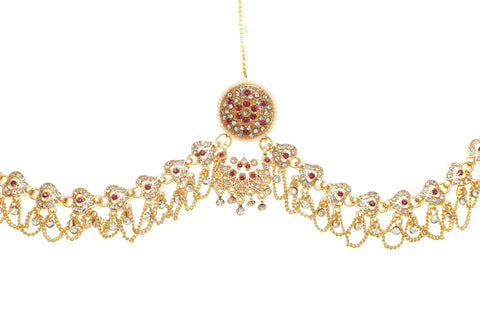 Marwadi Multy colored Gold Plated Rakhdi set with American Diamonds