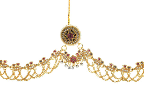 Indian Jewellery from Meira Jewellery:Rajasthani Jewellery,Ethnic Gold Plated  Multy colored Rajasthani Rakhdi Bor