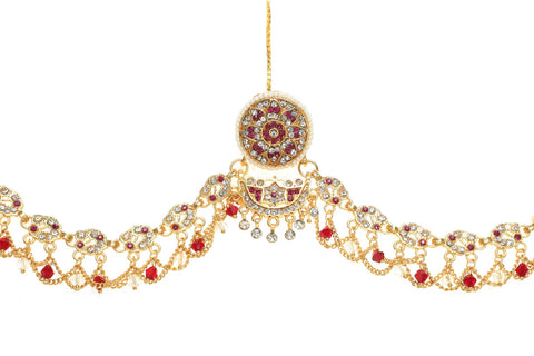Indian Jewellery from Meira Jewellery:Rajasthani Jewellery,Traditional Rajasthani Multy colored Rakhdi Bor With AD Stones