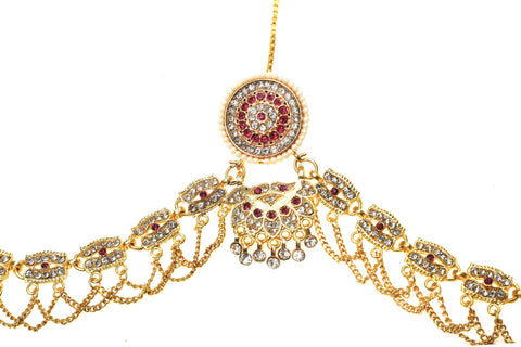 Indian Jewellery from Meira Jewellery:Rajasthani Jewellery,Trendy Rajputi Pink Color Stones Rakdi Bor With American Diamonds