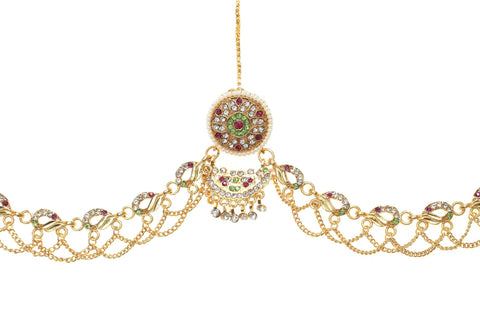 Indian Jewellery from Meira Jewellery:Rajasthani Jewellery,Rajasthani Chain Style Multy Colored Rakhdi Set Design