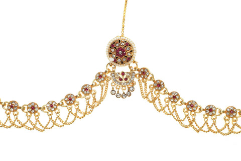 Rajputana Gold Plated Rakhdi adorned with white and pink color American Diamond
