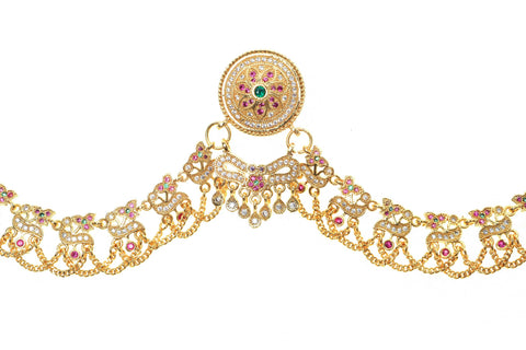 Indian Jewellery from Meira Jewellery:Rajasthani Jewellery,Rajputi Gold Plated Zadau Work Micro Rakhdi Set With Stiing AD stones
