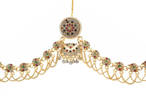 Indian Jewellery from Meira Jewellery:Rajasthani Jewellery,Rajasthani Traditional Gold Plated Rakhdi Set with Green-Pink Color AD Stones
