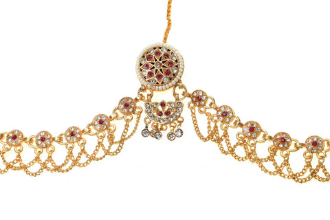 Indian Jewellery from Meira Jewellery:Rajasthani Jewellery,Rajputi Gold Plated Rakhdi Set Studded With White-Pink Color American Diamonds
