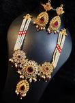 American Diamond Gold Plated Red Necklace Beaded with Pearls