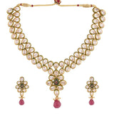 KUNDAN NECKLACE SET WITH TASSEL DESIGN & MATCHING EARRING FOR WOMEN