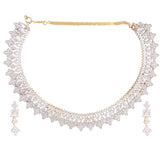Indian Jewellery from Meira Jewellery:Necklace,AMERICAN DIAMOND CHOKER NECKLACE SET WITH MATCHING EARRING FOR WOMEN