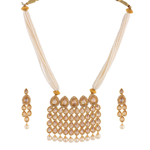 KUNDAN NECKLACE SET WITH PEARL MULTISTRAND & MATCHING EARRING FOR WOMEN