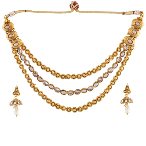 TRIPLE LINE NECKLACE SET WITH PEARL MULTISTRAND & MATCHING EARRING FOR WOMEN