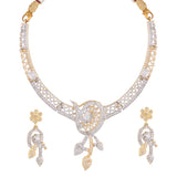 FILGREE DESIGN AMERICAN DIAMOND CHOKER NECKLACE SET WITH MATCHING EARRING FOR WOMEN